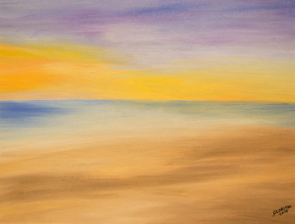 Title: Sun Set from the Land,  Medium: Oil,  Dimension: 17 X 15 Inches,  Frame: Metal,  Price: NFS