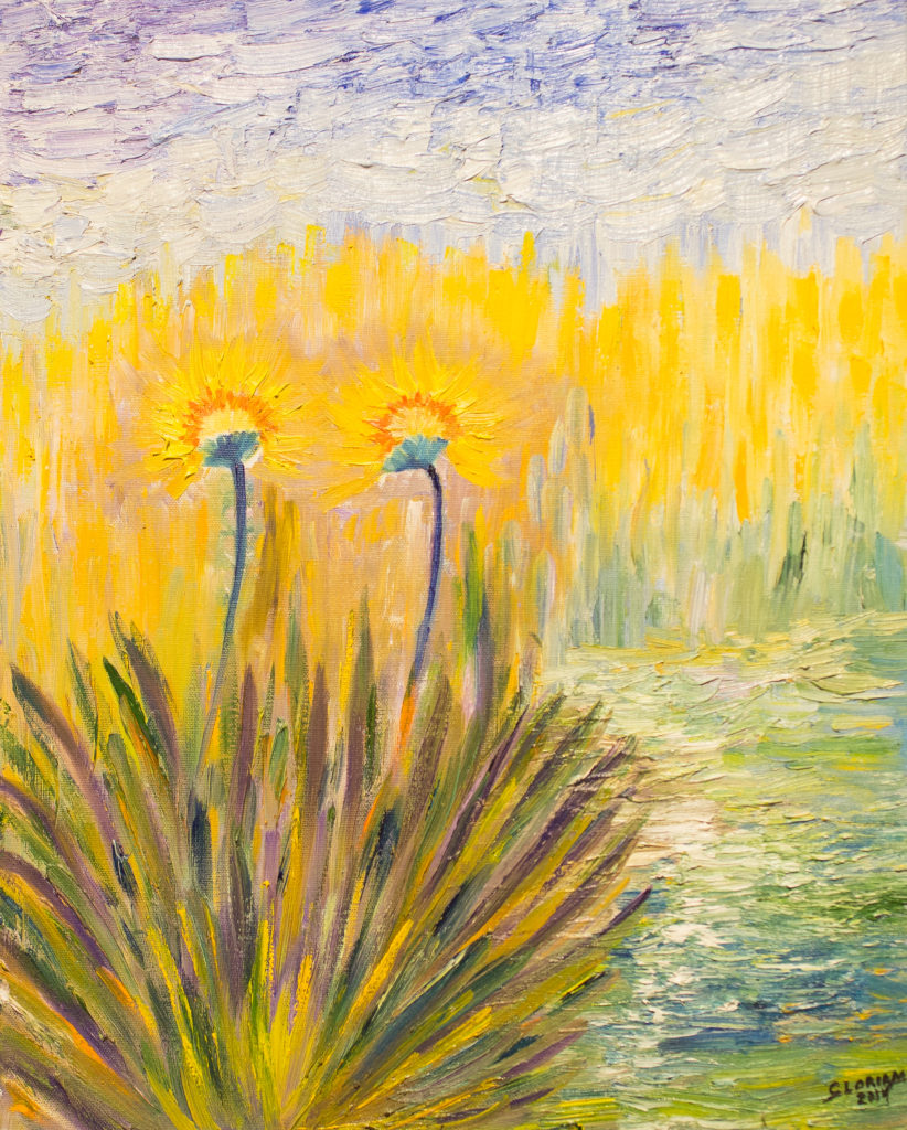 Title: Two Yellow Margaritas in a Bush,  Medium: Oil,  Dimension: 17 X 21 Inches,  Frame: Metal,  Price: NFS
