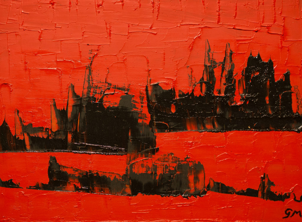 Title: Ships in the Red Sea,  Medium: Oil,  Dimension: 21 X 17 Inches,  Frame: Wood,  NFS
