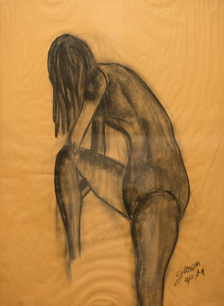 Title: Unknown Model,  Medium: Charcoal, Dimension: 22 X 28 Inches,  Frame: Wood,  Price: NFS