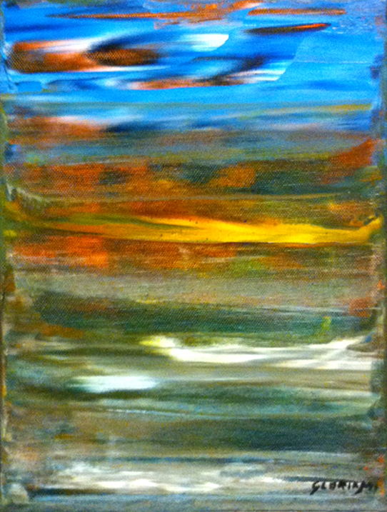 Title: Sun Rising in the Ocean  8,  Medium: Oil,  Dimension: 8 X 12 Inches,  Frame: Metal,  Price: NFS