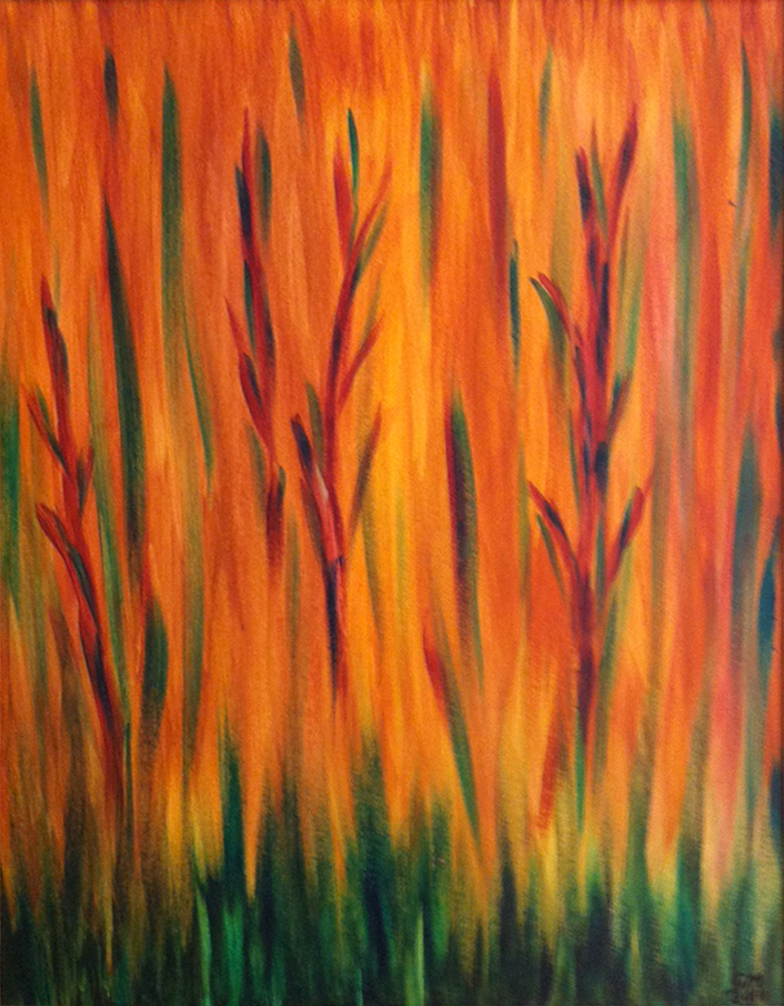 Title: Fall Garden,  Medium: Oil,  Dimension: 21 X 17 Inches,  Frame: Wood,  Price: NFS