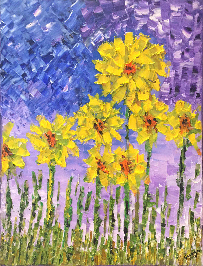 Title: Yellow Garden,  Medium: Oil,  Dimension: 17 X 21 Inches,  Frame: Metal,  Price: Contact the Artist