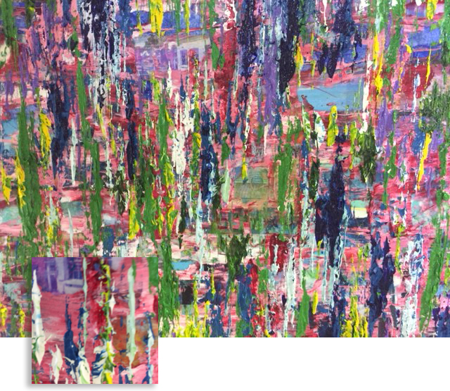 Colorful Kensington Houses Medium: Mixed Media (collage and oil on wood board) Frame: None Size: 24' x 19' Price: NFS