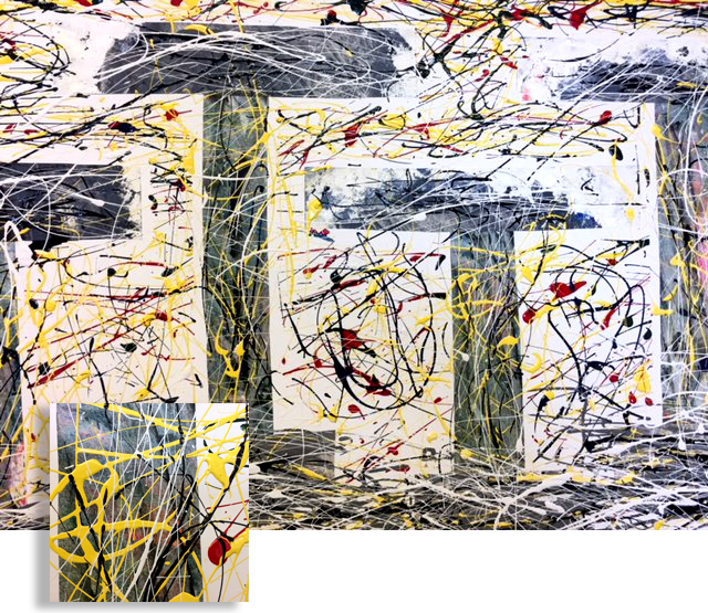 Greek Columns Medium: Mixed Media (Collage and Dripping Oil Painting on Paper Board) Frame: Black Metal Frame Size: 20'x32' Price: Talk with artist