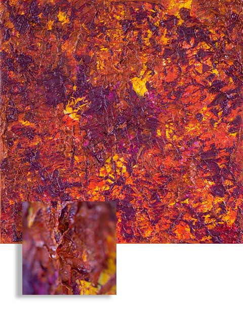 Purple Yellow Fall, Medium: Oil on Canvas Dimension: 13 x 13 inches, Price: Price: SOLD